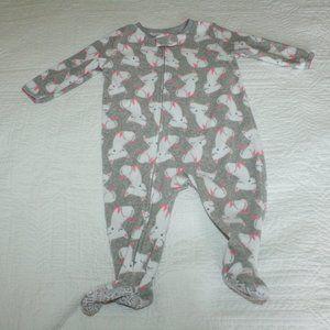 5/$20 Baby girl fleece sleeper with cats 9 months